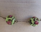 SALE Vintage Choker Pink Green Flowers China Beads Necklace Glass Cabbage Roses Silver Chain