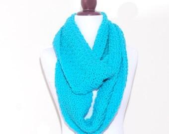 AMAZING Circle Scarf - CARRIBEAN Blue - handmade crochet scarf, circle scarf, fall winter fashion, cowl neckwarmer shawl collar
