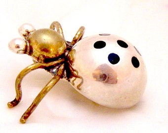 Sterling Silver Vintage Lucky Ladybug Pin