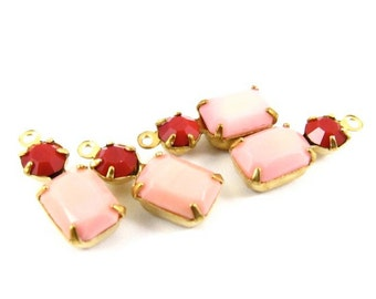 2 - Vintage Glass Drops Octagon 1 Ring Set Stones Brass Prong Settings Light Pink & Cherry Red 16x6mm