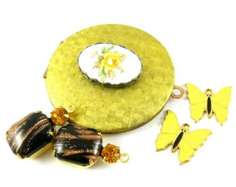 Vintage Cabochon Locket Pendant and Earrings Charms / Dangles / Drops - Black, Topaz, Yellow & Gold - 5 Pieces Set - KS03 .