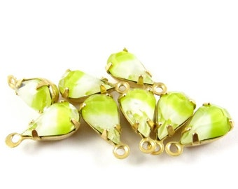 6 - Vintage Pear Shape Stones in 1 Ring Brass Prong Settings - Givre Yellow White - 10x6mm