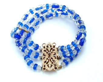 Art Deco Crystal Bracelet Cuff Clear with Sapphire Blue Faceted Glass Jewelry,