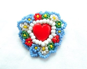 Handmade Jewelry Heart Jewelry Love Vintage Jewelry Colorful Seed Bead Brooch