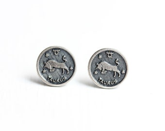 Silver Astrology Studs - Taurus
