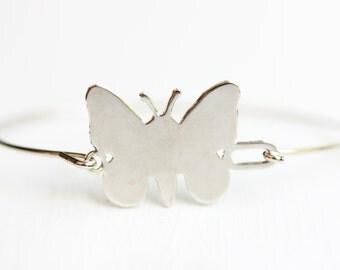 Silver Butterfly Bracelet, Butterfly Bracelet, Hook Bracelet, Vintage Bracelet, Silver Cuff, Small Silver Bracelet