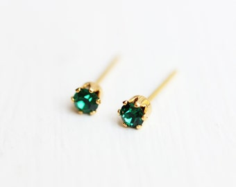 Green Crystal Studs, Small Crystal Studs, Green Studs, Crystal Studs