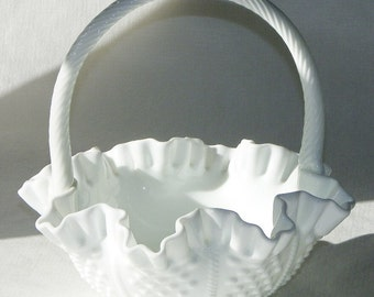 Fenton Hobnail & Rope Double Crimped Milk Glass Basket Sticker Attached Large 9 Inch Tall