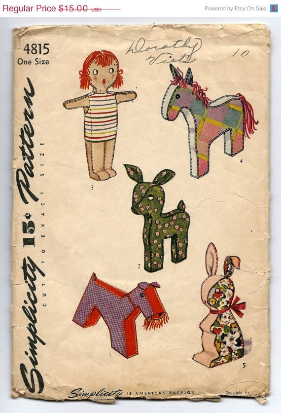 On Sale Vintage 1940s Simplicity 4815 UNCUT Stand Up Doll Horse Deer Dog and Bunny Stuffed Toy Sewing Pattern