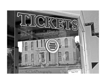 A Reflected World No 5 Tickets Fine Art Photography Black and White small town surreal image historic downtown movie theatre Home Decor Art