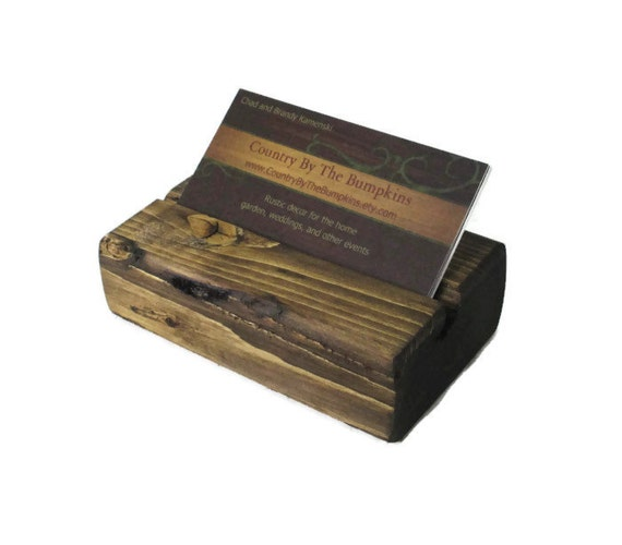 Reclaimed Wood Business Card Holder Rustic fice Decor