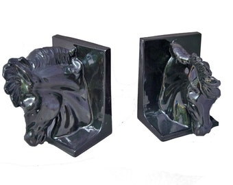 THE EQUINE COLLECTION - handpainted ceramic horse head bookends