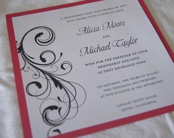 Custom flourish wedding invitation (SAMPLE)