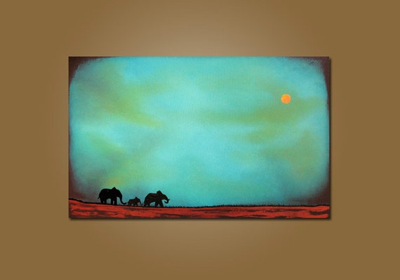 Journey - Textured Acrylic Contemporary Metallic Elephant Art PAINTING by Shanna - HUGE 36 x 24