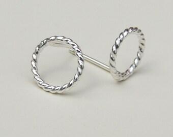 Silver Open Circle Stud Earrings Twisted Sterling Silver Small Post Earrings Minimalist Jewellery Eternity Circle Silver Studs