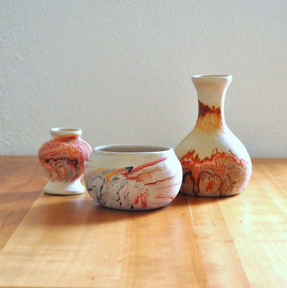 set of three nemadji pottery vases