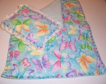 Doll bedspread/blanket with matching pillow - blue.