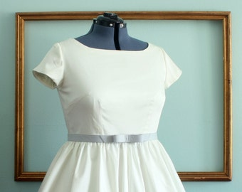 short wedding dress in ivory or white retro 1950s inspired dress - CINDY style - regular and plus size