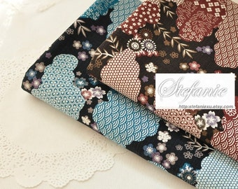 Gorgeous Traditional Pattern Ocean Wave Cherry Blossom Floral Clouds Patchwork(Choose Color)-Japanese Cotton Fabric (Fat Quarter)