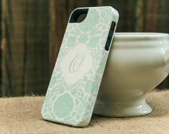 iPhone 6 Case Retro Seafoam Green iPhone 5S Case, Monogram Damask Floral iPhone SE, High Quality iPhone Cases iPhone 6 Plus Case