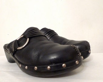 Studded Black Leather Clogs Slight Platform with Non-Wood Sole. Moto Buckle Shoes US W Sz. 7 1/2  Slides/ Mules / Sandals