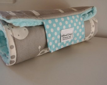 Baby Change Mat - Giraffe with Tiffany  Minky Fabric.
