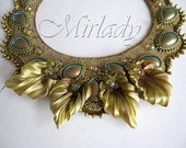 OOAK Very special handmade bead embroidered necklace in khaki and antique gold colors
