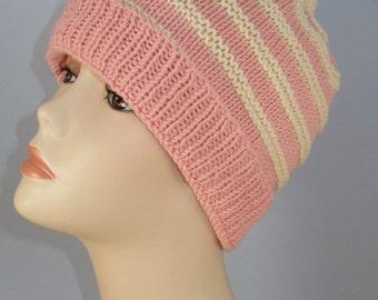 Instant digital file pdf download knitting pattern - Stripe Topknot Beanie Hat