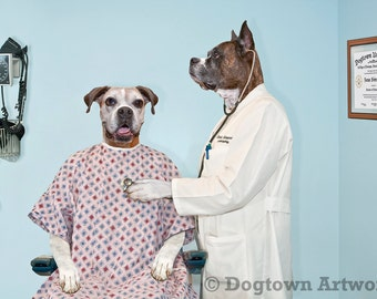 The Exam, large original photograph that features two boxer dogs in hospital room, one a patient and the other the doctor