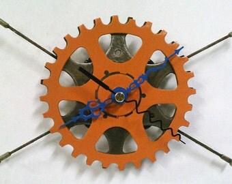 Recycled Bicycle Sprocket & Spoke Wall Clock - Orange