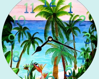 Aqua Beach tropical art wall clock - available in 2 sizes