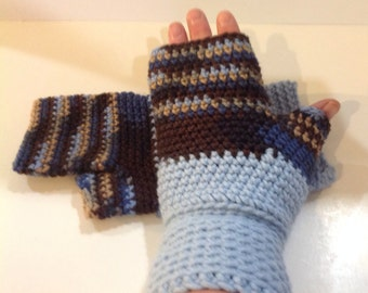Blue and Brown Fingerless Gloves
