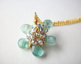 Apatite necklace, wire wrapped gemstone flower necklace with rhinestones