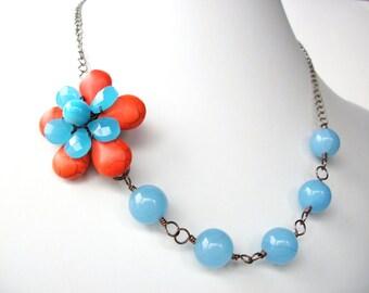 Wire wrapped flower necklace, blue quartz and orange magnesite gemstone necklace, briolette bead flower jewelry