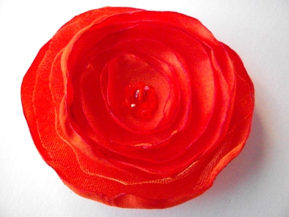 Tangerine Orange satin fabric flower pin, orange flower brooch with orange bead center, bright orange poppy pin