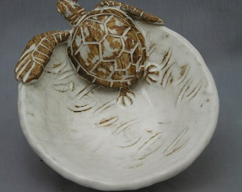 Nautical Ceramic Sea Turtle Bowl by Shayne Greco Beautiful Shabby Chic Mediterranean Sculpture Pottery