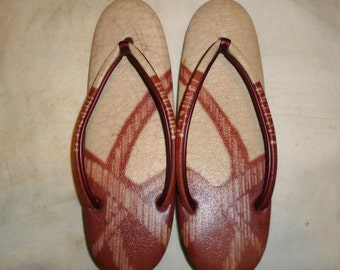 Vintage 60's Japanese Red Leather Zori Wedge, Thong, Slide, Sandals with original box