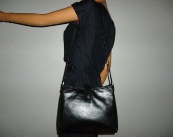 "Vintage 80's - Classic  - Black - Leather - Shoulder - Bag by Palizzie - 11"" x  9"" x  3"" to 4"""