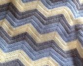 new chevron zig zag ripple baby blanket afghan wrap crochet knit wheelchair stripes VANNA WHITE yarn blue gray lamb handmade in USA