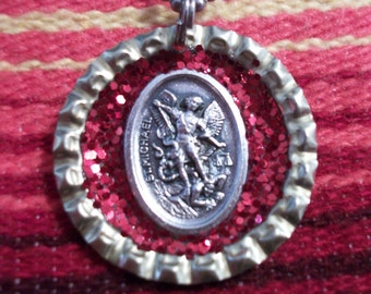 st. michael upcycled bottle cap necklace
