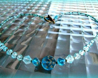 Turquoise Star Moon Necklace,Celestial Necklace,Moon Star Jewelry,Throat Chakra,Gifts for Her,Direct Checkout,Ready to Ship Ready to Ship