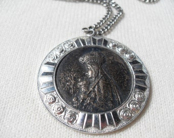 FREE SHIPPING Vintage Bronze Silver Large Pendant on Original Chain of Our Lady of Victory