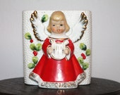 Christmas  Vintage  Angel with container or planter
