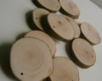 1000  Blank Tree Branch Slices 1.5 to 2  inch Top Drilled Bulk Lot