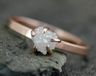 Prong-Set Rough Large Diamond Engagement Ring in Recycled 14k Gold- Rose, White, or Yellow Gold- Size D Diamonds