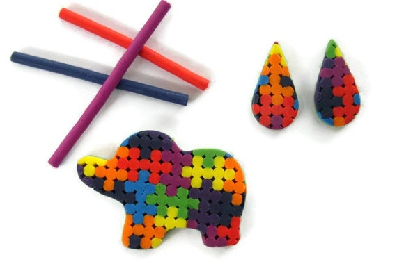 Small Elephant Rainbow Brooch plus Drop Stud Earrings