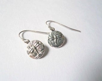 Silver dragonfly earrings. Tiny dragon fly earrings. Small silver dangles. Tiny earrings on sterling silver earwires. Dragonfly lover