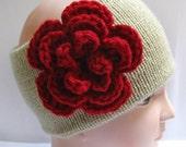 Knitted Headband Ear Warmer with Dark Red Crochet Flower