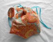 Small Project Bag Wristlet for Sock Knitting, Crochet, and Needlework - Coral and turquoise paisley