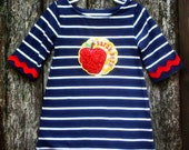 Back to School Dress with Apple Applique